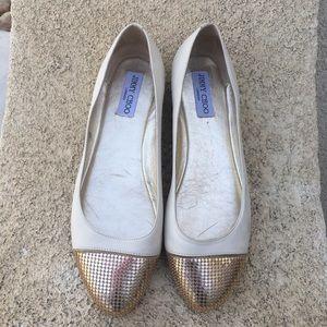 Jimmy Choo cap toe leather flats color tan size 40